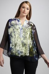 Tahari Woman Maxie Printed Blouse Womens - Lyst