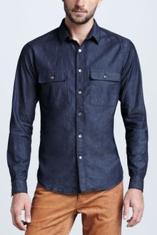 Theory  Chambray Shirt - Lyst