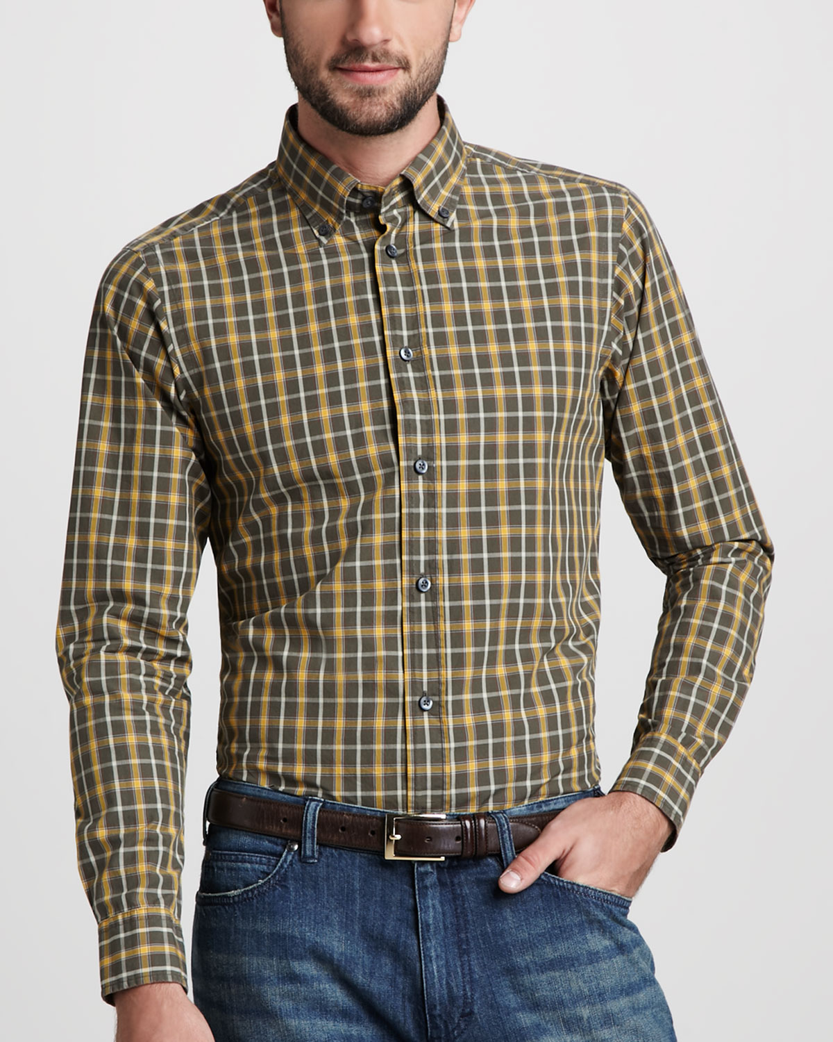 Zegna Sport Plaid Button Down Shirt In Yellow For Men