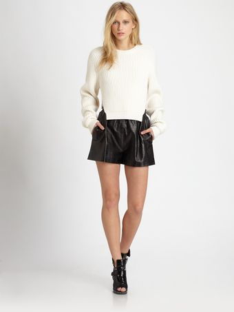 Alexander Wang Crocprint Leather Shorts - Lyst
