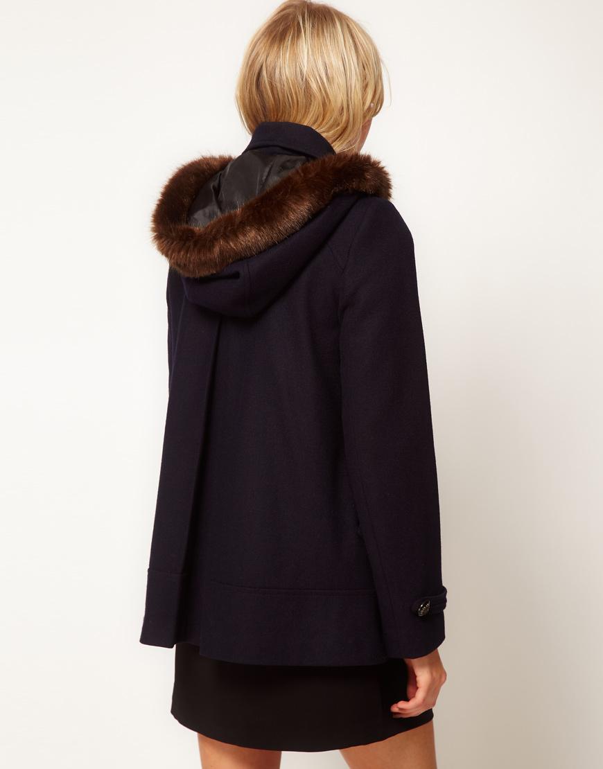 Asos collection Asos Hooded Aline Duffle Coat in Green | Lyst