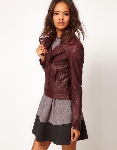 Asos Asos Leather Bomber Jacket in Purple for Men (Burgundy) | Lyst