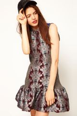 Asos Dress with Peplum and Floral Print in Silver (multi) - Lyst