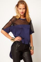Asos Airtex Panel Top with Strap Detail - Lyst
