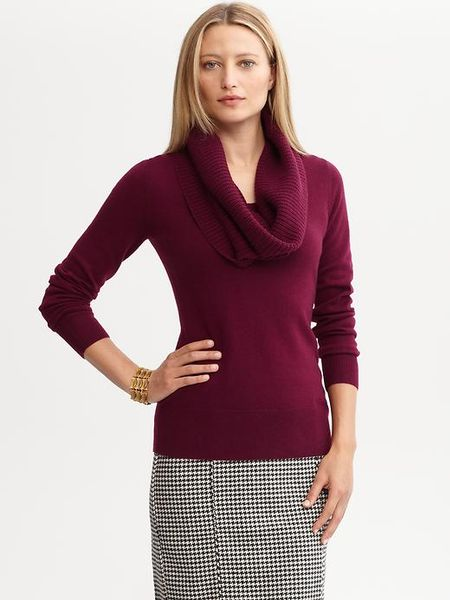 banana republic detachable cowl neck sweater in red red