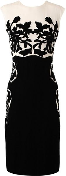 Bottega Veneta Silk Dress with Velvet Applique - Lyst