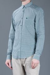 Burberry Brit Checked Print Shirt in Green for Men - Lyst