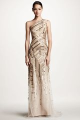 Carolina Herrera Embroidered Oneshoulder Gown - Lyst