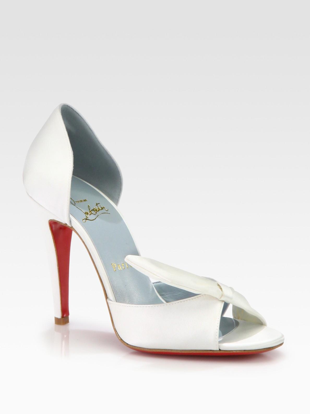 43b26fd9ddb closeout christian louboutin bridal shoes lyst christian louboutin livrée  satin bridal pump in white fb8cc 2f3f1