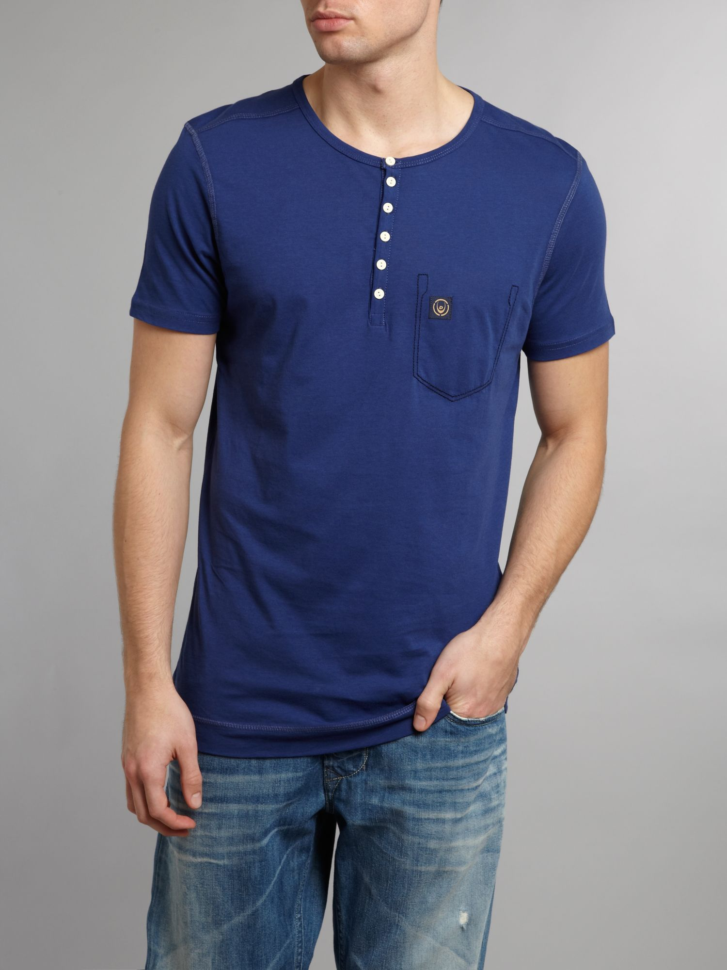 Duck and cover half button crew neck tshirt in blue for for Mens dress shirt button covers