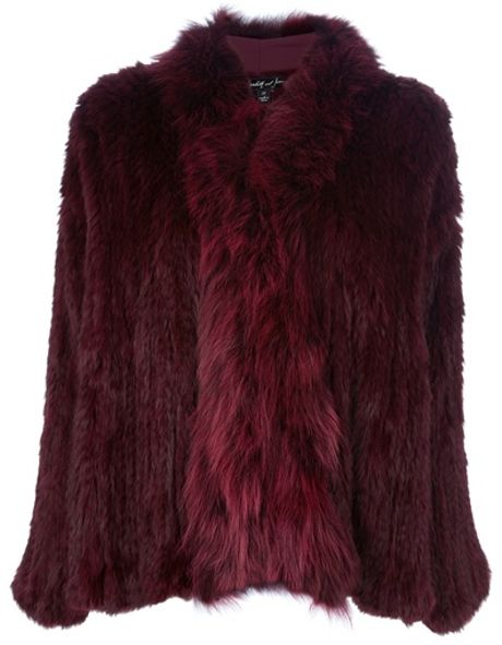 Elizabeth And James Rabbit Fur Coat in Red (merlot) - Lyst