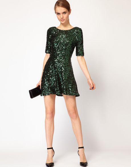 French Connection Sequin Skater Dress In Green Lyst