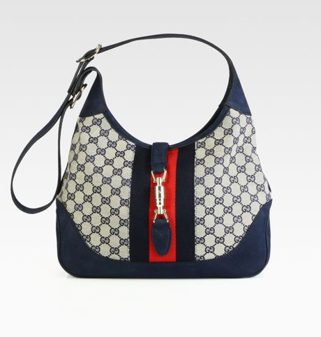 Gucci Jackie Original Gg Canvas Shoulder Bag in Blue - Lyst