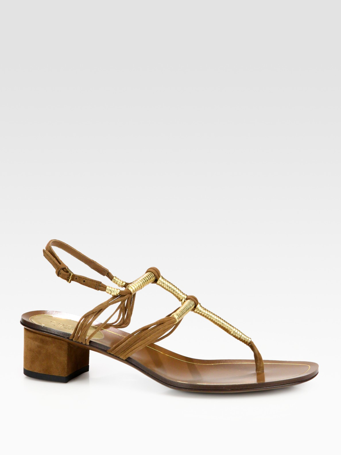 090169a6e32a34 Lyst - Gucci Anita Metallic Leather Suede Thong Sandals in Metallic