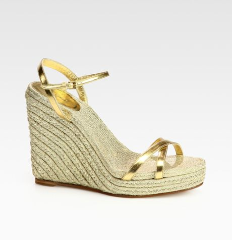 Gucci Lia Metallic Leather Espadrille Wedges In Gold Lyst