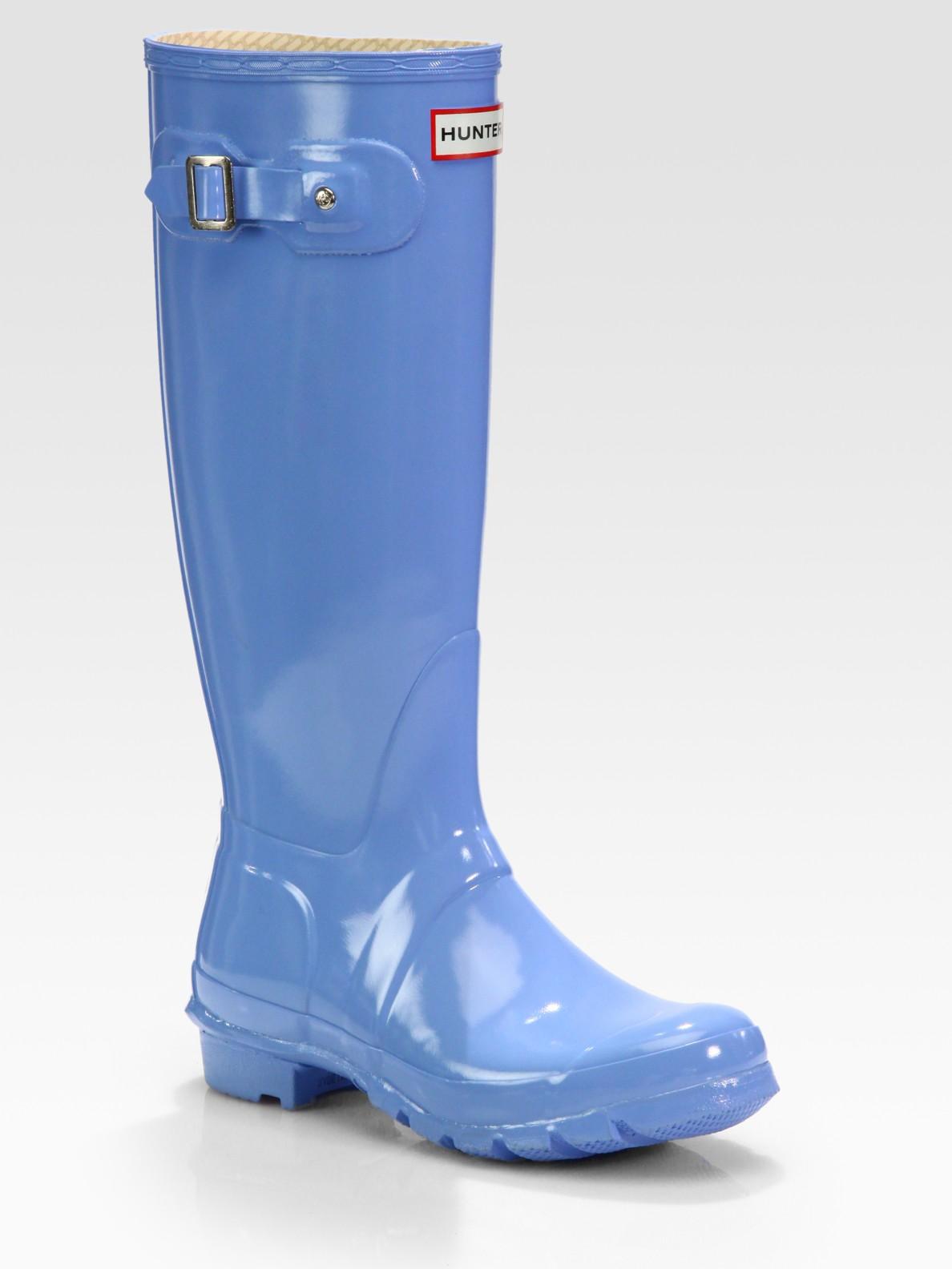 Hunter Rubber Rain Boots In Blue Lyst