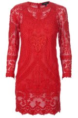 Isabel Marant Lace Dress in Red - Lyst