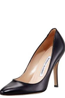 Manolo Blahnik Tuccio Sam Leather Pointedtoe Pump Black - Lyst