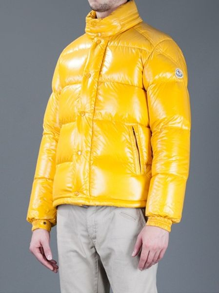 Moncler Feather Down Jacket In Yellow For Men Lyst