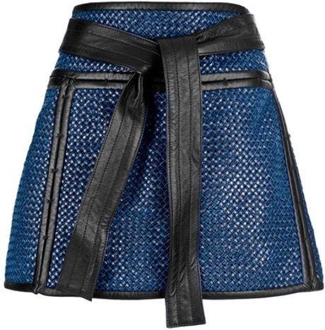 Proenza Schouler Woven Mini Skirt in Blue