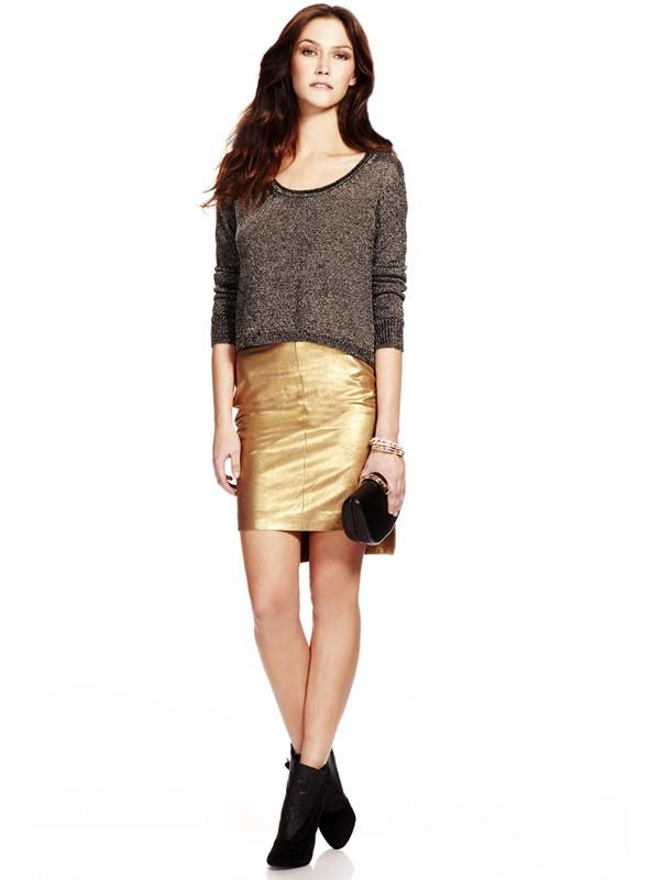 Rebecca minkoff Luciana Leather Skirt in Metallic | Lyst
