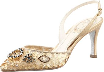 Rene Caovilla Sequined Beaded Halter Pump - Lyst