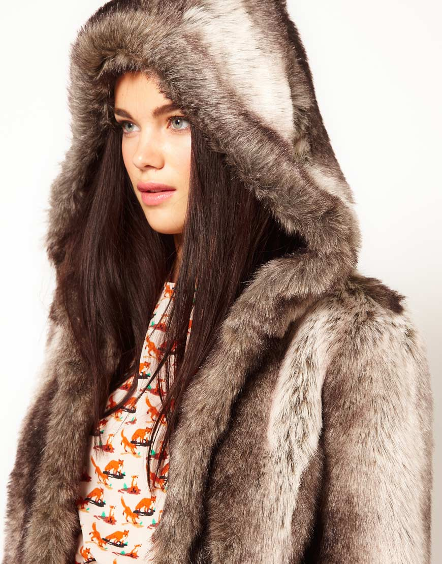 River island Maxi Faux Fur Coat with Hood in Gray | Lyst