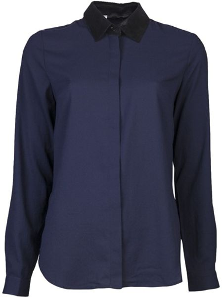 Sachin & Babi Leather Collar Shirt in Blue (midnight)