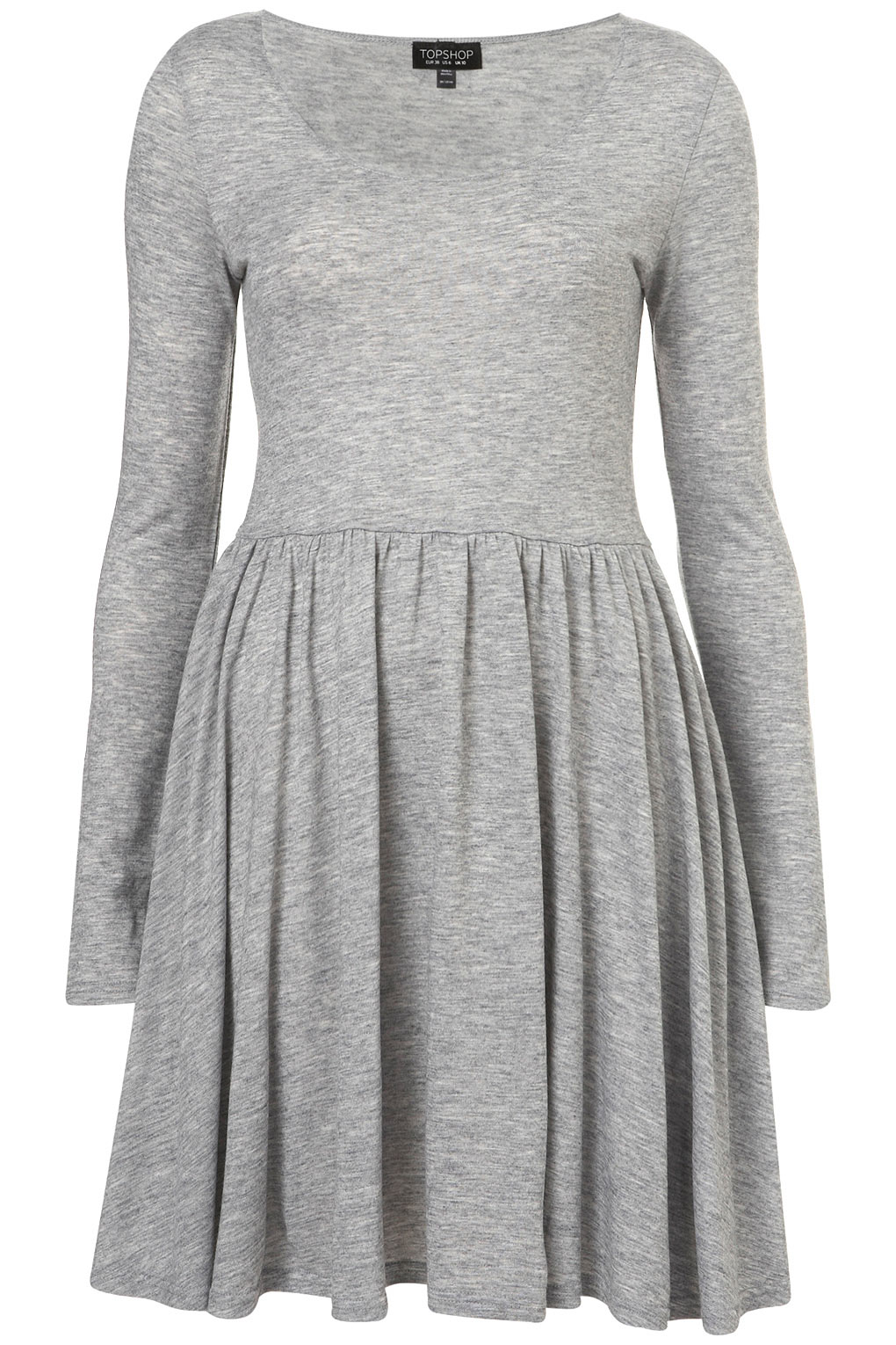 Juniors Derek Heart Soft stretch knit, twist front skater dress with a v-neck, long sleeve and a 33 inch length. 92% Polyester, 8% Spandex. Machine wash. Tumble dry.