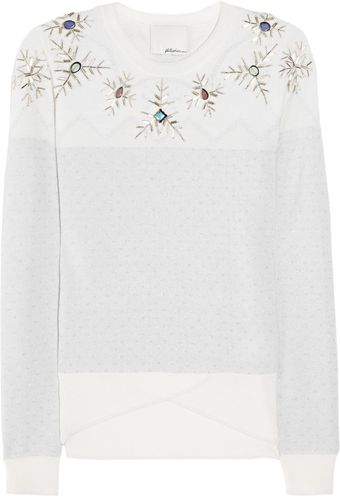 3.1 Phillip Lim Snowflake Embellished Wool Blend Sweater - Lyst