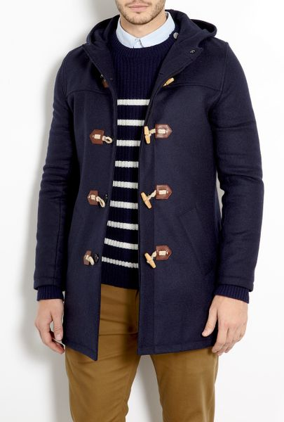 A.p.c. Dark Navy Melton Duffle Coat in Blue for Men (navy ...