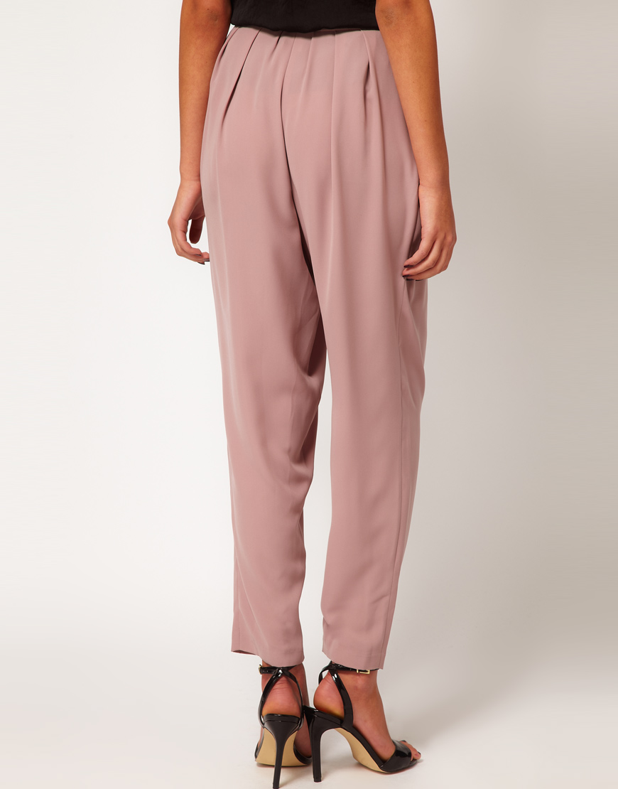 Lyst Asos Collection High Waisted Peg Trouser In Pink