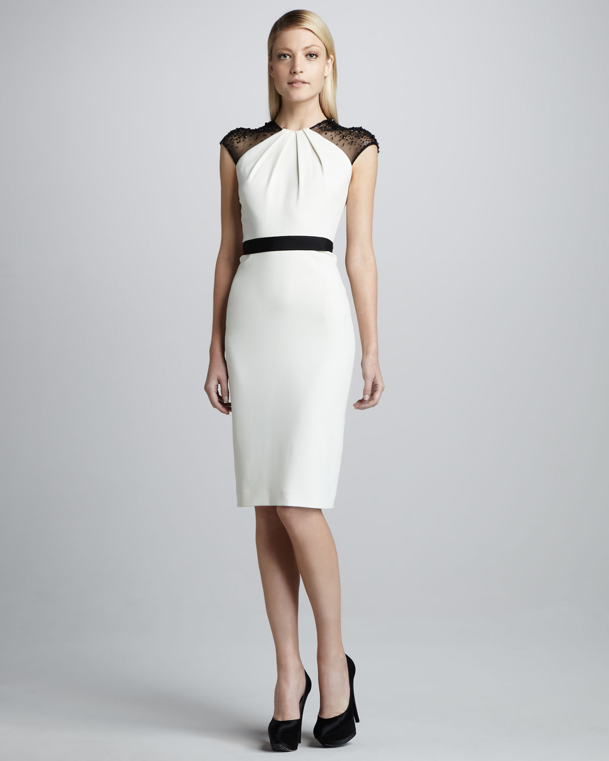 95afdfcd9a2 Badgley Mischka Beadsleeve Belted Cocktail Dress in White - Lyst