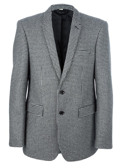 Burberry Dogtooth Print Blazer In Black For Men Lyst