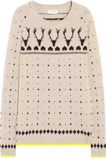 Chinti And Parker Reindeer Intarsia Cashmere Sweater - Lyst
