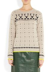 Chinti And Parker Reindeer Intarsia Cashmere Sweater in Beige (oatmeal) - Lyst