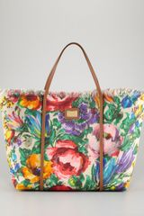 Dolce & Gabbana Miss Escape Floral Canvas Tote Bag - Lyst