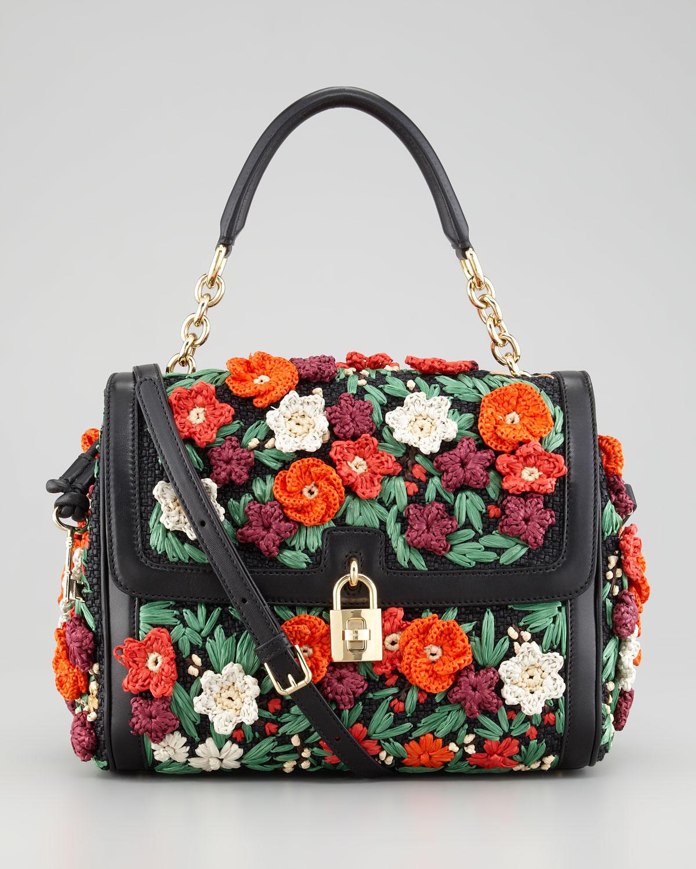 5389c4dc111 Dolce & Gabbana Miss Dolce Raffia Flower Padlock Flap Bag - Lyst