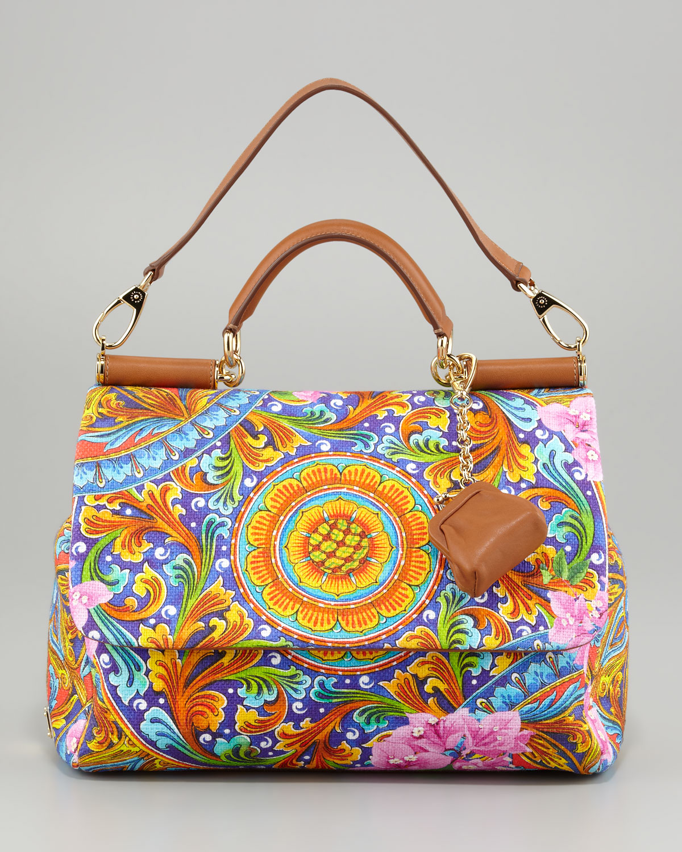 Lyst Dolce Amp Gabbana Miss Sicily Vibrant Canvas Print Bag