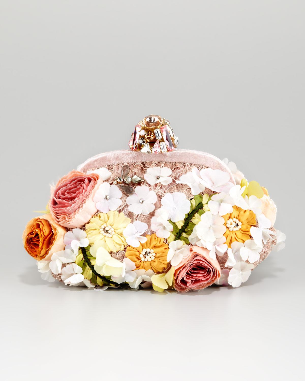 f8edc8e9e8 Lyst - Dolce   Gabbana Miss Dea Lace Floral Pouchette Clutch Bag