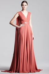 Elie Saab Capeback Georgette Gown in Orange (coral) - Lyst