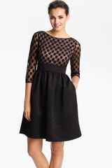 Eliza J Dot Mesh Bodice Fit Flare Dress - Lyst