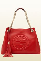 Gucci Soho Medium Red Leather Tote with Chain Straps - Lyst