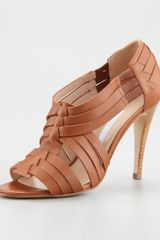Manolo Blahnik Zecca Woven Leather Opentoe Pump Luggage - Lyst