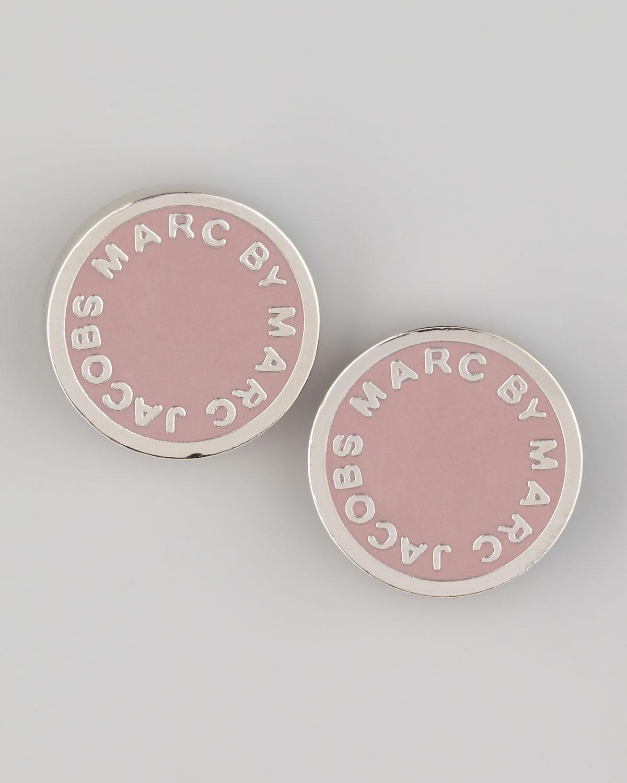 Marc By Marc Jacobs Enamel Logo Stud Earrings Blush In