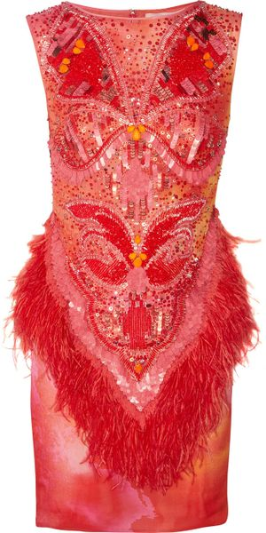 Matthew Williamson Swarovski Crystal Embellished Printed Silk Dress in Red (fuchsia) - Lyst