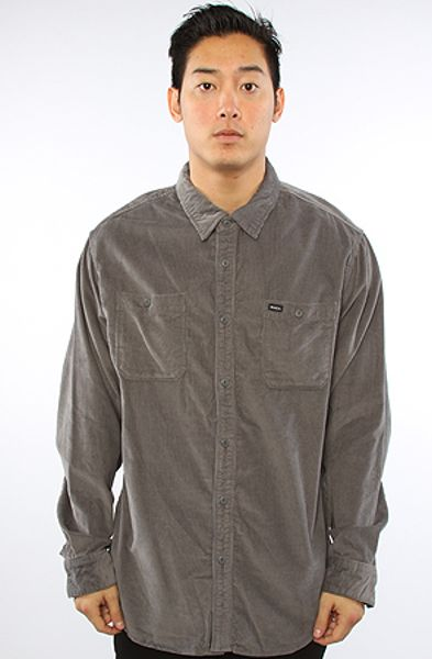 Rvca The Waller Buttondown Shirt in Beige for Men (denim) - Lyst