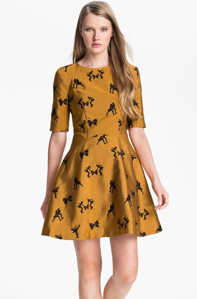 Ted Baker Jacquard Fit Flare Dress In Yellow Gold Lyst