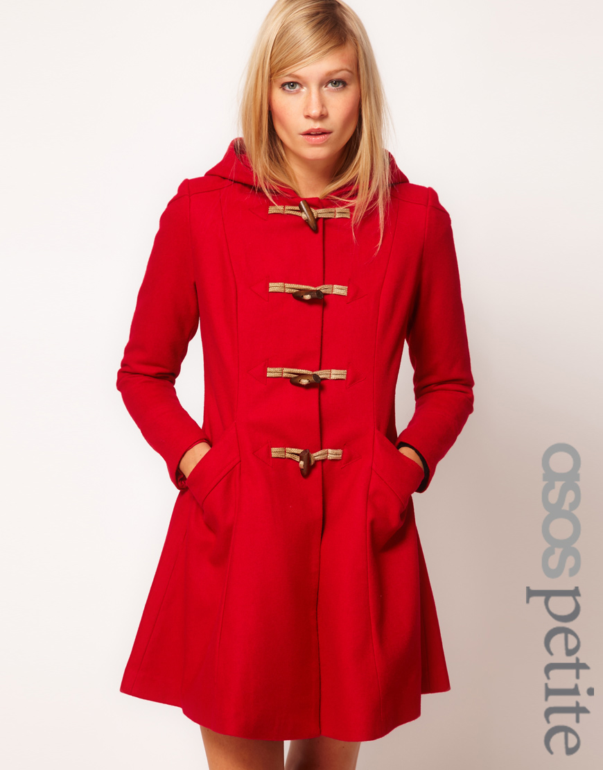 Asos Hooded Swing Duffle Coat in Red | Lyst
