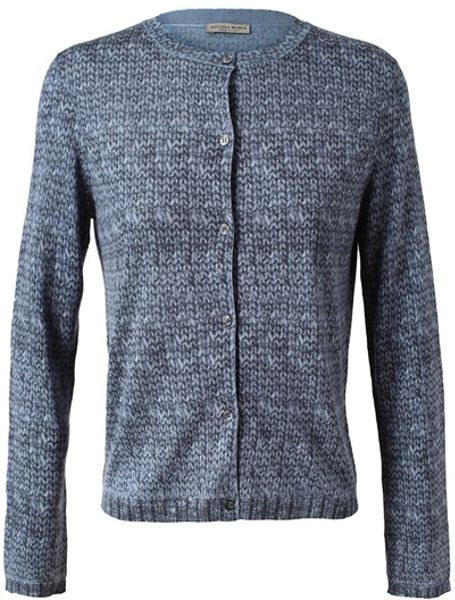 Bottega Veneta Trompe Loeil Silkwool Cardigan in Gray (multi)